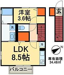 JR総武線 稲毛駅 バス24分 草野車庫下車 徒歩7分の賃貸アパート 2階1LDKの間取り