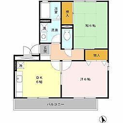 南海高野線 百舌鳥八幡駅 徒歩5分の賃貸アパート 1階2DKの間取り