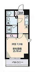 都営大江戸線 森下駅 徒歩8分の賃貸マンション 7階1Kの間取り