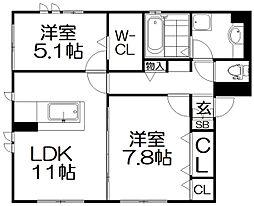 (仮称)D−ROOM楠葉中之芝[3階]の間取り