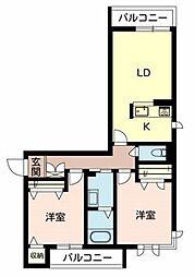 兵庫県三木市末広3丁目の賃貸マンションの間取り