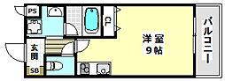 コティー庄 1階ワンルームの間取り