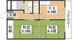 大阪府大阪市平野区背戸口5丁目の賃貸マンションの間取り