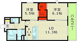 Osaka Metro今里筋線 新森古市駅 徒歩3分の賃貸マンション 3階2LDKの間取り