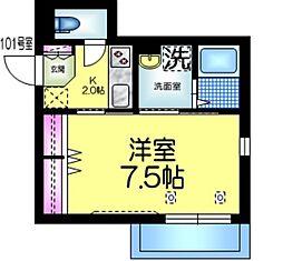 都営新宿線 本八幡駅 徒歩5分の賃貸マンション 1階1Kの間取り