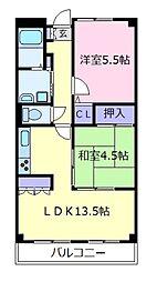 大阪府松原市三宅西4の賃貸マンションの間取り