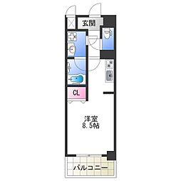 Osaka Metro千日前線 今里駅 徒歩5分の賃貸マンション 4階ワンルームの間取り