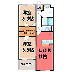 栃木県宇都宮市針ヶ谷町の賃貸マンションの間取り