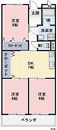 滋賀県野洲市六条の賃貸マンションの間取り