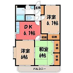 栃木県小山市西城南1丁目の賃貸マンションの間取り