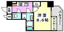 阪急京都本線 南茨木駅 徒歩5分の賃貸マンション 4階1Kの間取り