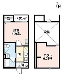 JR阪和線 百舌鳥駅 徒歩2分の賃貸アパート 2階1Kの間取り
