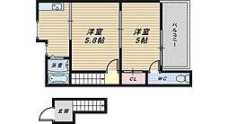 大阪府和泉市池上町の賃貸アパートの間取り