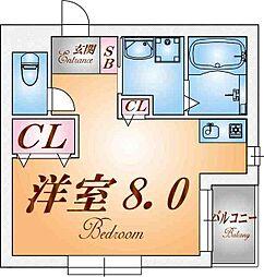 兵庫県神戸市兵庫区松本通4丁目の賃貸アパートの間取り