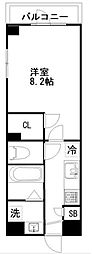 東武野田線 新鎌ヶ谷駅 徒歩5分の賃貸マンション 6階1Kの間取り
