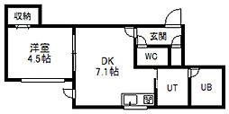 アムール大通東[203号室]の間取り
