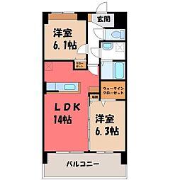 カシリ・エスポワール 4階2LDKの間取り