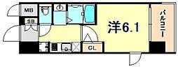JR東海道・山陽本線 灘駅 徒歩14分の賃貸マンション 12階1Kの間取り