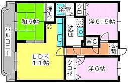 福岡県福岡市東区多々良1丁目の賃貸マンションの間取り