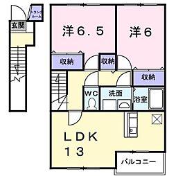 富山県富山市塚原の賃貸アパートの間取り