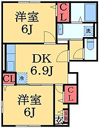 千葉県千葉市緑区誉田町1の賃貸アパートの間取り