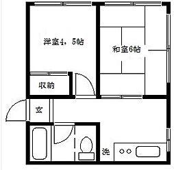 内田マンション[401号室]の間取り
