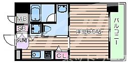 JR東西線 大阪城北詰駅 徒歩4分の賃貸マンション 2階1Kの間取り