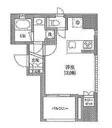 JR山手線 神田駅 徒歩3分の賃貸マンション 11階ワンルームの間取り