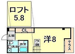阪神本線 鳴尾・武庫川女子大前駅 徒歩3分の賃貸マンション 1階ワンルームの間取り