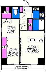 プレステージ六番館 9階2LDKの間取り