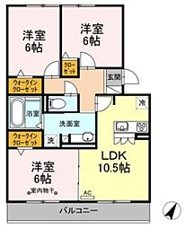 JR御殿場線 御殿場駅 徒歩33分の賃貸アパート 3階3LDKの間取り