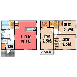 JR東北本線 宇都宮駅 バス33分 上戸祭小入口下車 徒歩2分の賃貸一戸建て 2階3LDKの間取り