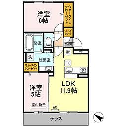 D-roomパークサイド吉塚[202号室]の間取り