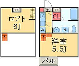 千葉県千葉市中央区白旗2丁目の賃貸アパートの間取り