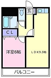 パリーサーハウス福田[4階]の間取り