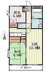 JR五日市線 秋川駅 徒歩7分の賃貸マンション 地下3階2LDKの間取り