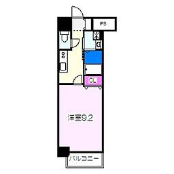 JR阪和線 津久野駅 徒歩6分の賃貸マンション 3階1Kの間取り