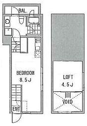 島津山ポイント 2階ワンルームの間取り
