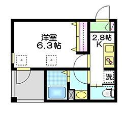 東武東上線 下板橋駅 徒歩9分の賃貸マンション 2階1Kの間取り