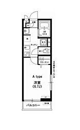 リブリ・Pine House 2階1Kの間取り