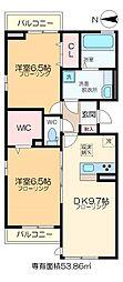 仮称D-room六町SU 2階2DKの間取り