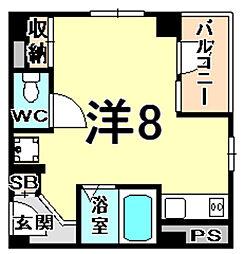 ラックビル 4階ワンルームの間取り