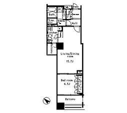 東京メトロ半蔵門線 水天宮前駅 徒歩2分の賃貸マンション 8階1LDKの間取り