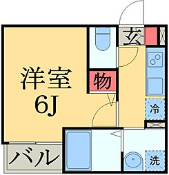 JR総武線 千葉駅 徒歩10分の賃貸アパート 3階1Kの間取り