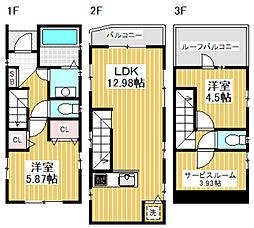 [一戸建] 東京都中野区中央4丁目 の賃貸【/】の間取り
