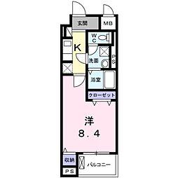 つくばエクスプレス 八潮駅 徒歩9分の賃貸マンション 3階1Kの間取り