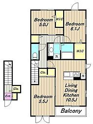 (仮)D-room相原 A棟[2階]の間取り