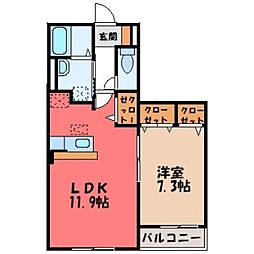 栃木県栃木市柳橋町の賃貸アパートの間取り