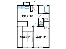 神奈川県海老名市国分寺台3丁目の賃貸アパートの間取り