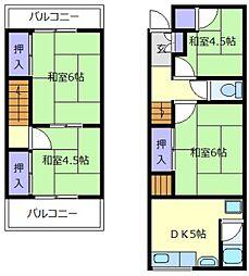 [一戸建] 大阪府羽曳野市野 の賃貸【/】の間取り